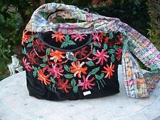 Guatemala huipil big hobo bag black velvet with rococo embroidered flowers