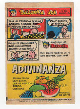 Bazooka Joe Argentina Rare Spanish Text large size Wax wrapper comic 1970s