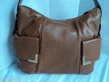NWT MICHAEL KORS BEVERLY WALNUT LEATHER LG TZ SHOULDER BAG PURSE $348