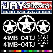 Military Jeep Decal Kit | Distressed Vinyl Stickers | Army Decals Wrangler JK TJ