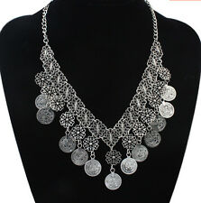 Fashion Jewelry Vintage Charm Silver Coins Pendant Choker Chunky Bib Necklace