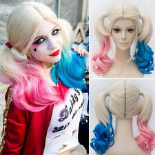 Fast SHIP Batman Suicide Squad Harley Quinn Cosplay Wig Pink Blue Gradient Hair