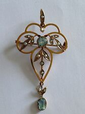 Beautiful Antique 9ct Gold Aquamarine & Seed Pearl Pendant / Brooch