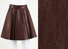 NWT BRUNELLO CUCINELLI BROWN GENUINE LEATHER SKATER A-LINE PLEATED SKIRT SZ 6