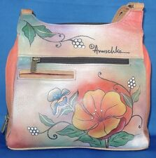 ANUSCHKA Purse Handbag Tote Genuine Leather Hand-Painted Floral Butterflies NWOT