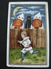 VINTAGE HALLOWEEN Boy SCARED BY GHOSTS PUMPKIN MOON FACE POSTCARD