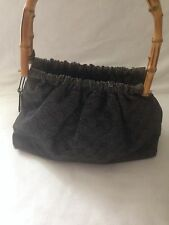 Authentic GUCCI GG Logos Bamboo Hand  Bag Black Canvas Vintage Italy