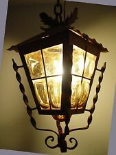 Big Spanish Revival Mid Century Blown Amber Glass Wrought Iron Hall Swag Lamp