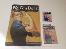 WE CAN DO IT- 3er Set - Blechschild 20x30 cm + Blechkarte + Magnet FRAUENPOWER
