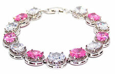10k White Gold Filled Pink Sapphire And White Topaz 29.4ct Tennis Bracelet