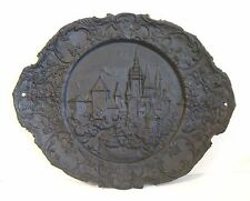 Cast Iron Wall Charger Plate Platter w/ Ornate Border Detailed Village City JM87
