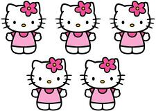 5 X HELLO KITTY MINNIE/SMALL IRON ON T SHIRT TRANSFERS LIGHT/WHITE FABRICS #1