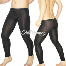 Mens Sexy Sheer Mesh Leggings Long Johns Pants Stretch See-through Underwear New