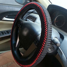 Black  Red Elastic Ice Silk DIY Car Steering Wheel Cover Sets 38CM Decoration