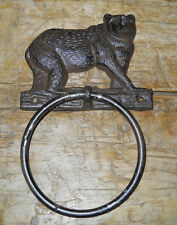 Cast Iron Antique Style Rustic BLACK BEAR Door Knocker Hunting Camp TOWEL RING