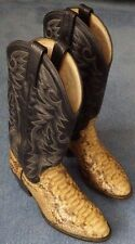 Vintage Dan Post Genuine Python Snakeskin Cowboy Boots Men 9D Handcrafted Exotic