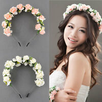 Flower Garland Floral Bridal Headband Hairband Wedding Party Prom Pink/White