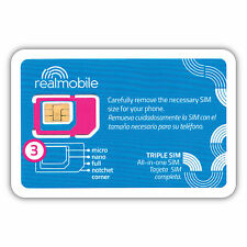 iPHONE READY SIM CARD 3G/4G LTE using AT&T network on REAL Mobile Prepaid