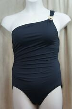 Michael Kors Swimsuit Sz 14 Black Gold One Shoulder Maillot One Piece MM74302S