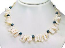 Elegante Halskette aus Biwa perlen und Süßwasserperlen L-44,5 cm