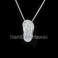 Honu Turtle Slipper Flip Flop Hawaiian Jewelry Plumeria Flower Silver Pendant