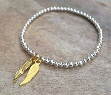 Simple Silver & Gold Ball Beaded Double Wing Angel Charm Stretch Bracelet Bangle