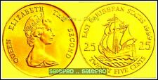 24K GOLD PLATED EAST CARRIBEAN STATES 1999 25 CENT SAILING SHIP SEALED COIN UNC