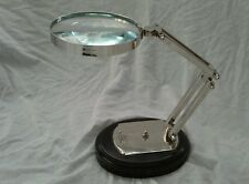 LARGE ADJUSTABLE  MAGNIFYING GLASS ON STAND~QUALITY ITEM. 12cm Lens.