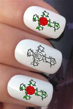 WATER NAIL TRANSFERS TATTOO ROSE CROSS BLACK & COLOUR MIX DECALS STICKERS *614