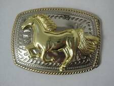 RUNNING HORSE ANIMAL SILVER AND GOLD WESTERN COWBOY RODEO  BELT BUCKLE