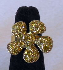 Fashion green RHINESTONE FLOWER adjustable COCKTAIL RING gold plate