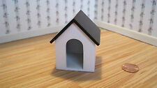Dollhouse Miniature Furniture ~ White  Dog House with a Black Roof ~