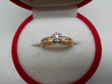 VINTAGE 10K YELLOW GOLD AND 3 SMALL DIAMONDS ENGAGEMENT RING Sz5.25 NOT SCRAP