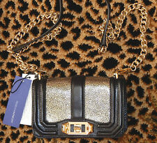 REBECCA MINKOFF MINI LOVE BLACK/GOLD LEATHER CROSSBODY BAG NEW AUTHENTIC