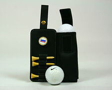 Leather golf ball & tee holder that clips onto belt or golf bag