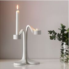Tea Candle Holder Free Standing Tealight Wedding Restaurant Decor White Set of 2
