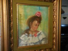 Vintage Oil on Canvas Painting of Young Girl with Flowers by Claretta White 60's