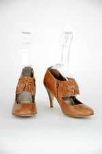 'Bonbons' Women's Tan Leather Round Closed Toe High Heel Shoe {Size 8}