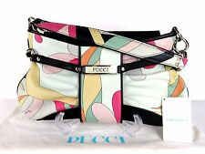 100% Auth EMILIO PUCCI Leather Shoulder Bag Multi Color Made In Italy W/Dust Bag