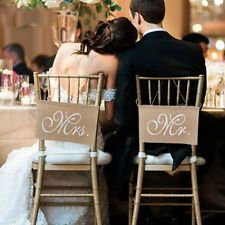 Anti-Dirt 30 x 20cm Groom Bride Wedding Decorations Burlap Chair Banner Set Sign