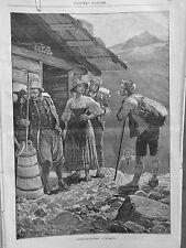 1881 UI10 TOURISTE SUISSE CHALET SOULIER FERRE HABIT VOYAGEUR GROSSE CHAUSSETTE