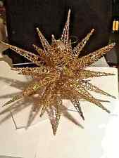 VINTAGE LARGE METAL GOLD MULTI COLOR IRRIDESCENT 25 POINT HANGING STAR MISTLETOE