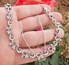 ANTIQUE STERLING SILVER RHINESTONE HANDMADE CHOKER NECKLACE 18""