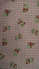 Pink gingham kawaii kitty cats kitsch red hearts spotty fabric fat quarter