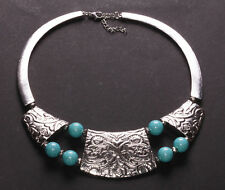 Tribal Spirit Lives On….Turquoise Stone & Chrome Bib Necklace(Ns26)