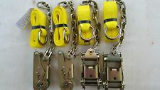 "12pc set 4 WHEEL LIFT Lasso Strap, 4 2"" RATCHETS, 4 13"" 5/16 G70 Chain Tow"