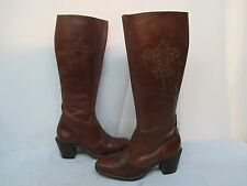 Vintage Wrangler Tall Brown Leather Womens Zip Cowboy Boots Size 8 M USA