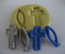 Religous cross & fish Flexible silicone mold for chocolate fondant clay & more