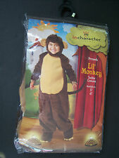 New Lil' Monkey Plush Toddler Halloween Costume 2T-3/3T
