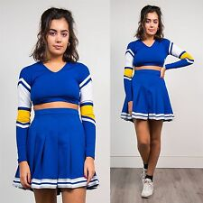 WOMENS VINTAGE 90'S USA BLUE LYCRA LONG SLEEVE CROP TOP CHEERLEADER SCHOOL 8